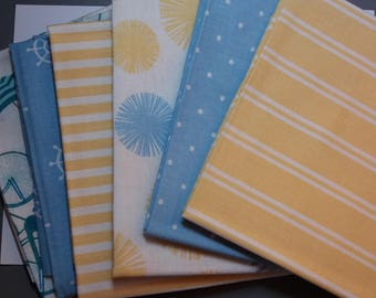 Beach Party Fat Quarters. 6 designs. 100% Cotton. 45cm x 55cm. Nautical fabric, quilting fabric, flower fabric, blue, yellow, stripe fabric