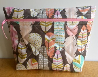 Makeup bag, cosmetic bag, zipper pouch, quilted bag, toiletries bag