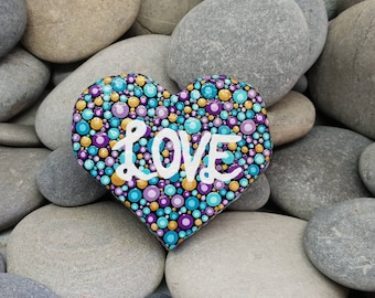 Love Painted Rock - Turquoise Mandala Stone - Meditation Mandala Rock - Dot Art - Chakra - Paperweight