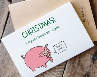 Printable Funny Pig Christmas Card - Christmas turkeys and pigs