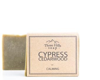 Cypress Soap,Cedarwood Soap,Men Soap,Natural Soap,Handmade Soap,Vegan Soap,Palm Free Soap,Calming,Irish Made, Essential Oil Soap, Green Soap
