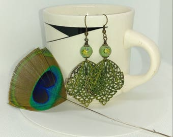 Green and yellow floral antique bead earrings