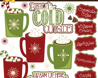 Hot Chocolate Bar Clipart - Hot Cocoa Bar Clip Art - Christmas Clipart - Personal Use - Commercial Use