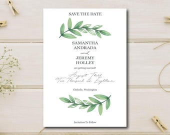 Simple elegant greenery save the date wedding card download / invitations / stationary / PDF