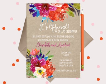 Adoption Party Invitations - Printable announcements - summer floral