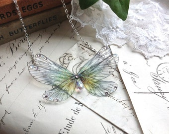 Pretty rainbow Faerie wing Necklace