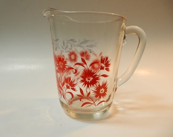 Red Floral Glass Pitcher