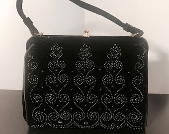 Vintage 1940's, 1950's SOURE' Designer, Black Velvet Purse, with Beaded Scroll Front Designs