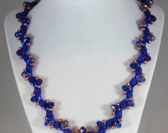 Blue and copper glass bead crochet necklace