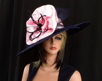 Kentucky Derby hat. Royal Ascot .Formal hat. Navy blue and pink hat for Del Mar races, wedding or other occasions. Couture hat, designer hat