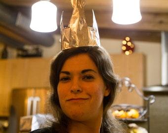 Aluminum Foil Monarch Crown - Aluminum princess crown - royal crown - gag gift - joke present - prank gift - prank present