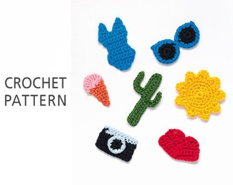 Crochet pattern applique, Summer set applique 7 in 1, Brooch, Cactuc pattern, Camera motive, Jewelry, Summer decor, Instant Download PDF