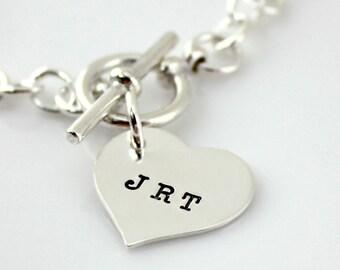 Toggle Bracelet - Heart Toggle Bracelet - Initial Bracelet - personalized sterling silver bracelet