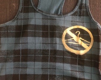 """Black and blue plaid with a gold ink prochoice feminist """"we wont go back"""" print 20% of sales benefit the national network of abortion funds"""