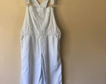 Vintage 1990s Cropped Ethyl Baby Blue Overalls size Medium