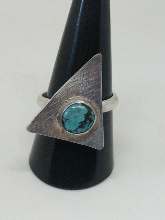 Turquoise Triangle Sterling Silver Ring