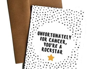 Funny Cancer Card Beat Cancer Rockstar Breast Cancer Gift Cancer Positivity Cancer Get Well Card Encouragement Card Cancer Survivor Gift