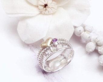 Heart spinner ring, Amethyst spinner ring, silver ring, heart worry ring, purple Amethyst jewelry, purple Amethyst ring, heart fidget ring