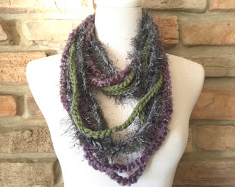 Gray green and purple scarf, chain scarf, fashion scarf, art scarf, green scarf, gray scarf, purple scarf,  light weight scarf