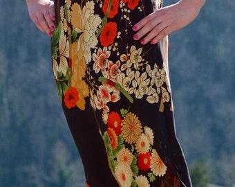 Vintage Jacqueline Riu Paris Kimono print Midi pencil skirt