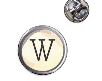 Letter W Typewriter Key Lapel Hat Tie Pin Tack
