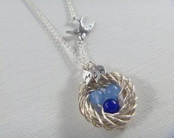 Three Bird Nest Necklace - Mother's Day Gift - Mother of the Bride - Mom Necklace - Mothers Jewelry - femmart