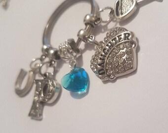 PERSONALISED KEYRING Gift Daughter Something Blue Wedding Day Horseshoe