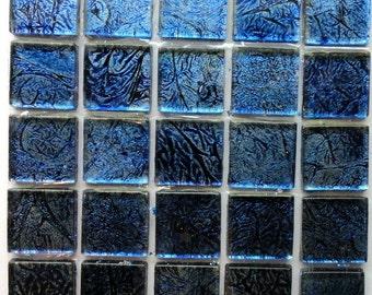 "ONSALE 20mm (3/4"") Cobalt Blue Antiqued Foil Backed Crackled Crystal Glass Mosaic Tiles//Mosaic// Mosaic Supplies"