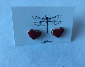 Red porcelain post earrings with glossy finish