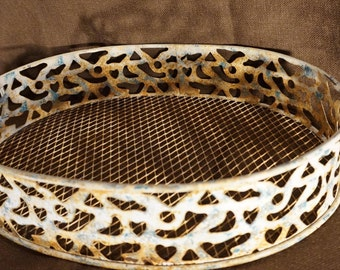 Large Oval Rustic Metal Basket with Handles