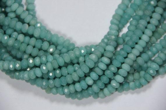 "AA Grade Amazonite 8x5mm faceted roundel beads 16"" length full strand"