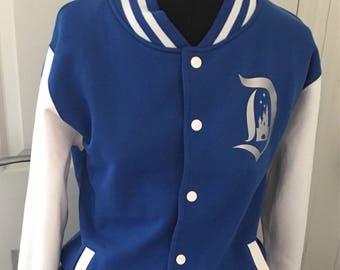 Disneyland inspired varsity jacket in silver and blue disneyland paris 25th anniversary  unisex