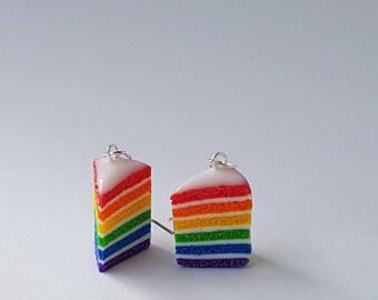 Earrings rainbow cake cake