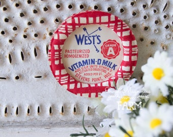 Vintage Wests Vitamin D Milk Bottle Cap Magnet - Wax Cap - Advertising - Kitchen - Farmhouse Decor - Stevens Point Wisconsin