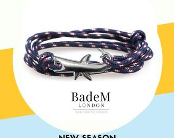 Shark Bracelet - Nautical Rope | Gift for him | Summer Bracelet | Ocean Blue | Navy | Tangerine | Velvet Red