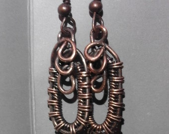 copper wire wapped earrings