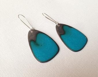 Enameled copper - turquoise earrings