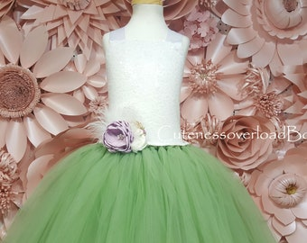 Sage Green Tutu Dress-Sage Green Flower Girl Tutu Dress-Green Tutu Dress.Green Flower Girl Tutu Dress-Vintage Mint Green Tutu-Sequin Dress