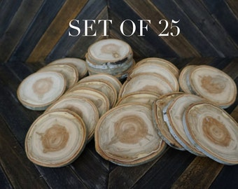 "Set of 25 4.5""- 5"" Large Aspen Wood Slices - Rustic Wedding Decor - Wood Disc - Rustic Wedding Supplies - DIY Wedding -Craft Supplies"