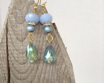 Pale blue crystal drop earrings