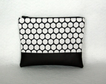 Black and White Polka Dot Zipper Pouch with Vinyl Accent