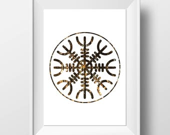Helm of Awe - Rune Print - Pagan Gift - Viking Decor - Viking Print - Viking Gift - Aegishjalmur Print - Pagan Decor - Runic Stave Print