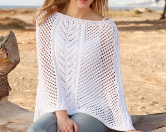 Women handmade hand knit summer light poncho / cover-up / cape with lace and cable in 100% cotton,  size S/M - L/XL - XXL /XXXL