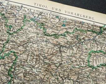 1895 Antique Map Of THE TYROL Region. Italy. Austria. Tirol. Tirolo.