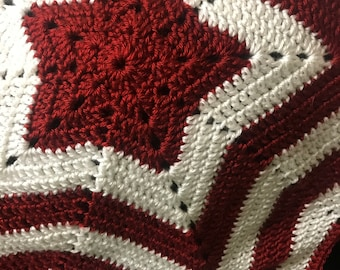 Red and White Star Baby Blanket