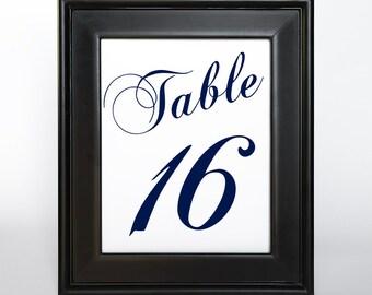 Printable Table Number Cards 5x7 DIY Wedding Decor Instant Download Set 40 Reception Sign Bridal Shower Casual Elegance Navy