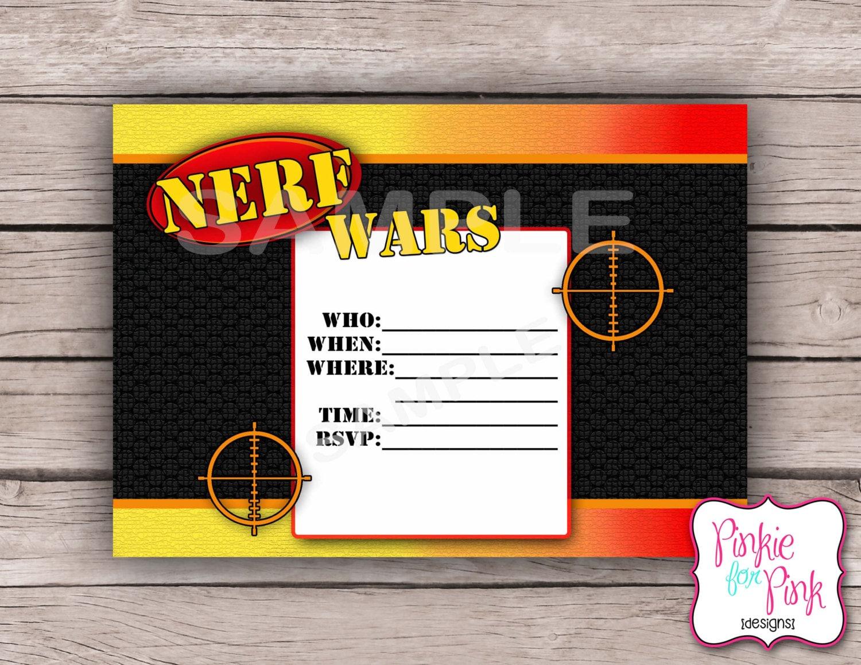 INSTANT Download Nerf Wars Invitation Birthday Party Digital