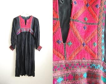 Vintage 70s Black Boho Hippie Festival Dress Cotton Gauze Tribal