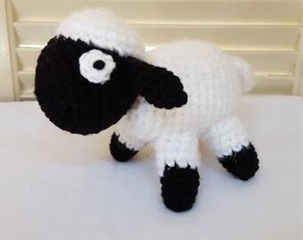 Crochet Sheep Stuffed Animal / Black And White/ Crochet Doll / Amigurumi Toy/ Handmade Toys/ Gift For Kids/ Plush Farm Animals