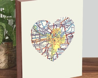 Kansas City Art - Kansas City Print - Kansas City Map - Wood Block Art Print